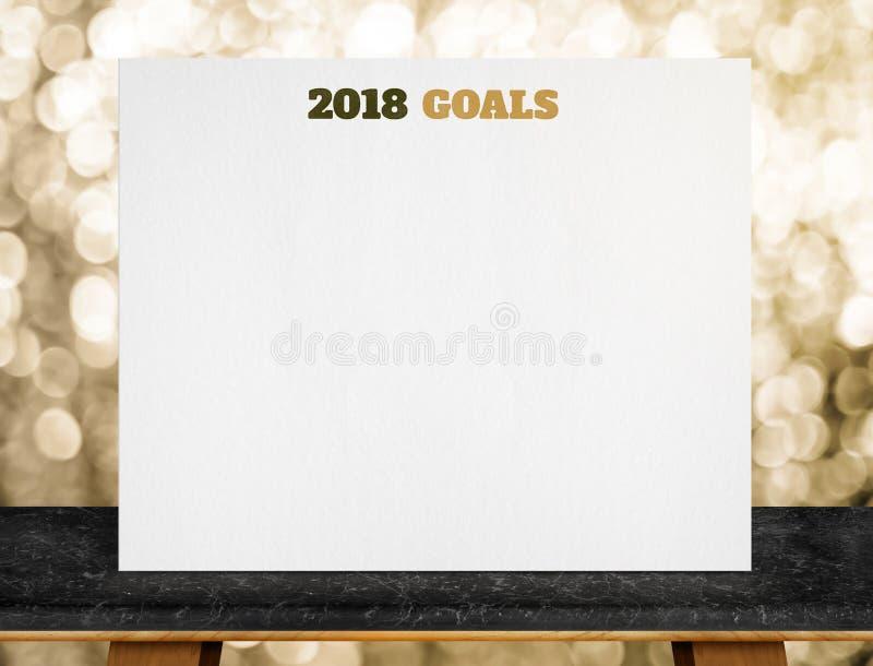 2018 buts sur l'affiche de livre blanc sur la table de marbre noire avec de l'or photographie stock