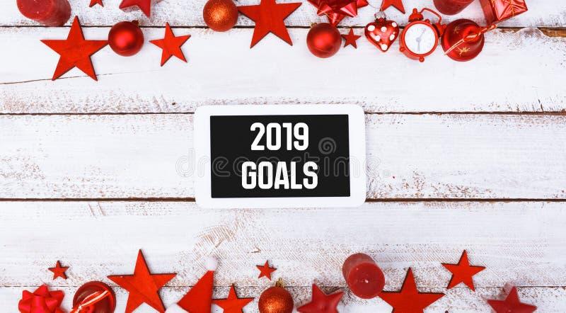 2019 buts sur la tablette dans la configuration plate saisonnière image libre de droits