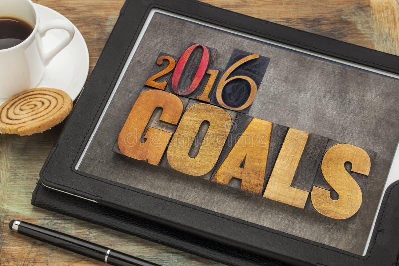 2016 buts sur le comprimé numérique photo libre de droits