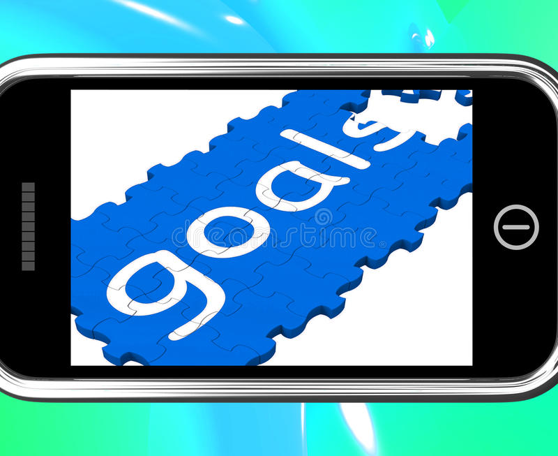 Buts sur Smartphone montrant de futures aspirations illustration libre de droits