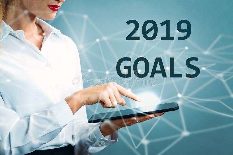 2019 buts textotent avec la femme d'affaires images stock