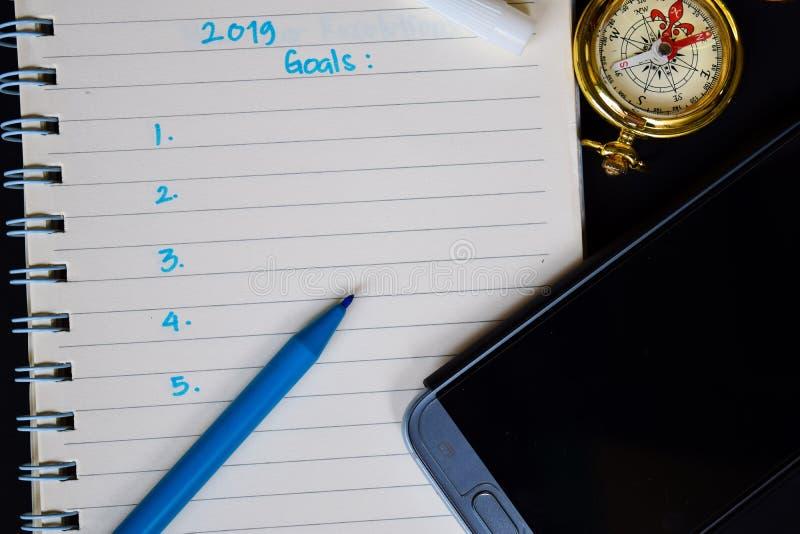 2019 buts textotent sur le carnet image stock