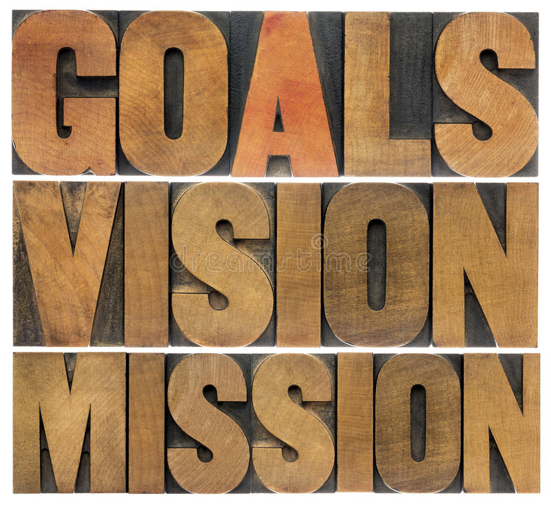 Buts, vision et mission photo libre de droits