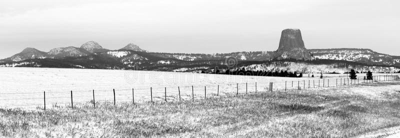 Butte утеса снега зимы Вайоминга башни дьяволов стоковое фото rf