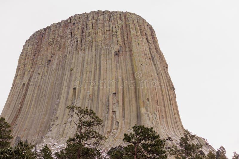 Butte утеса снега зимы Вайоминга башни дьяволов стоковая фотография