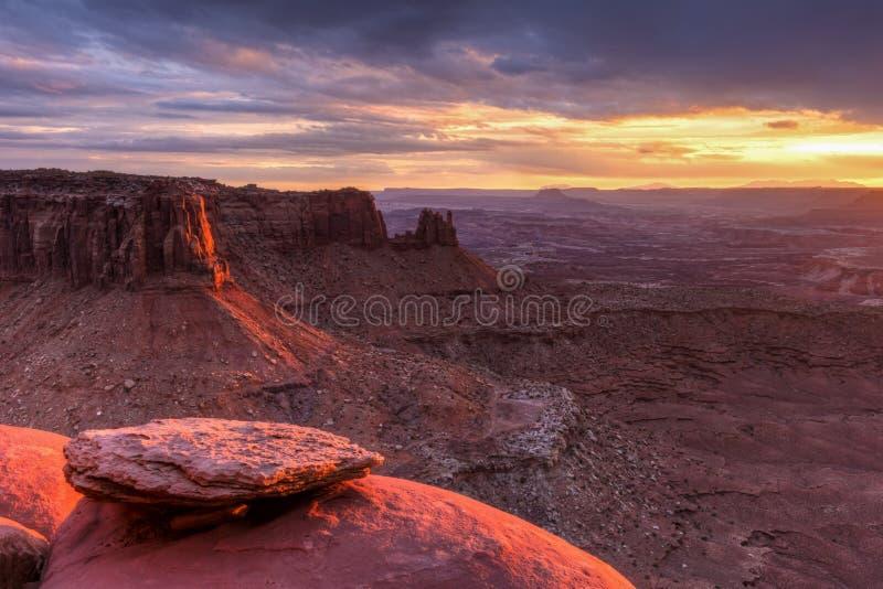 Butte de jonction et coucher du soleil grand de point de vue photographie stock
