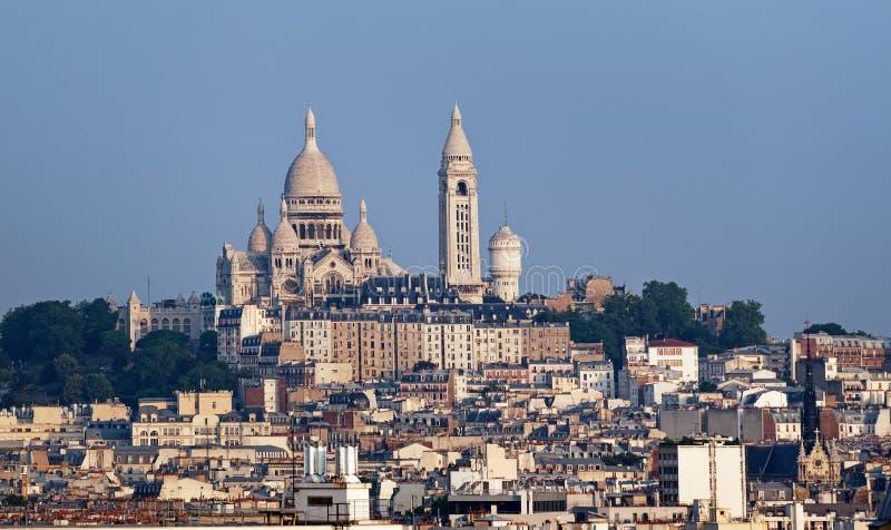 Butte Montmartre and Sacré-Cœur basilica stock photos