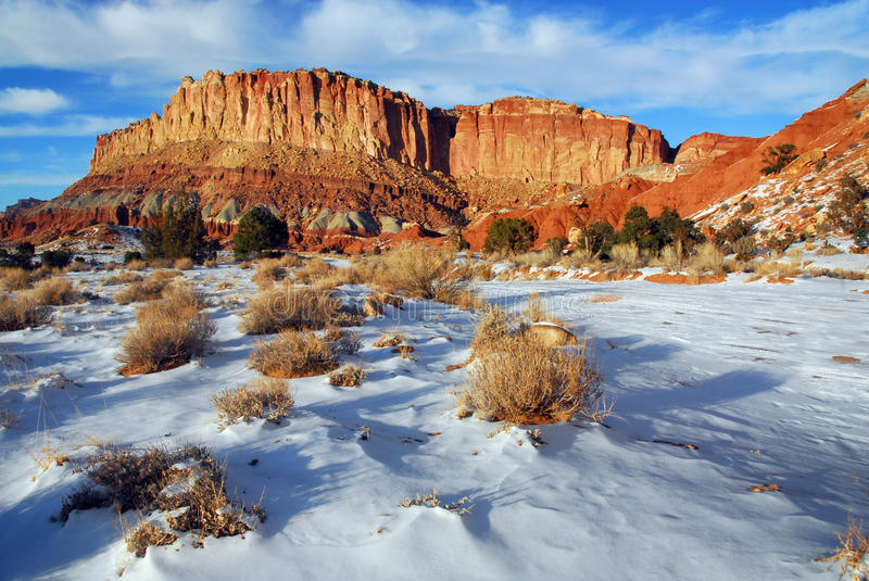Butte During Winter at Capitol Reef National Park. Capitol Reef National Park, UT - December 10, 2009 - Unique winter landscape of a colorful unidentified butte royalty free stock photography