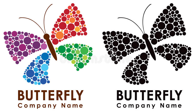 Butterfly Logo. A logo icon of a butterfly in colour and balck and white