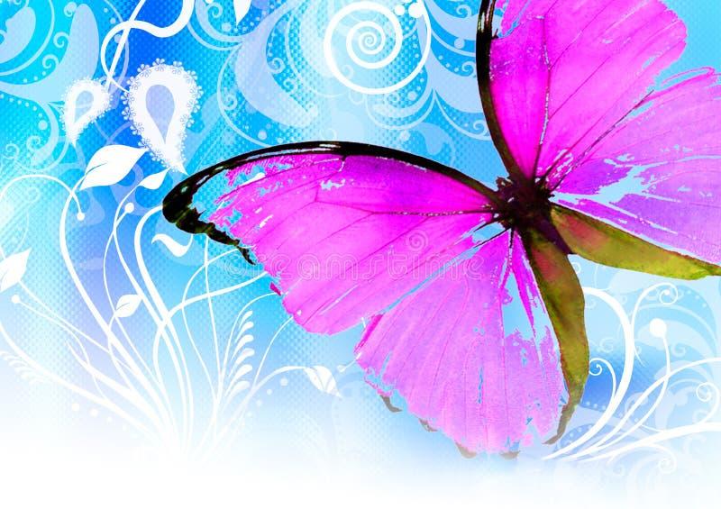 buttefly pink royaltyfri illustrationer