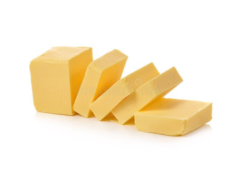 Butter auf weißem Hintergrund stockfotos