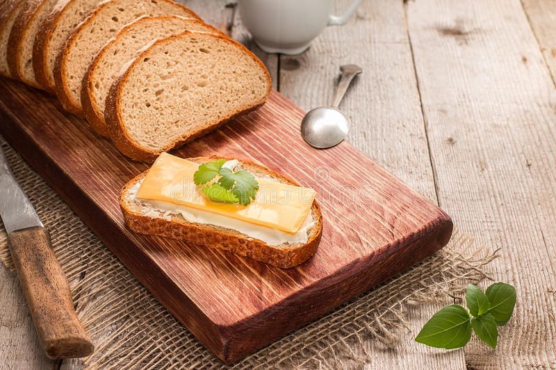 Butter and bread for breakfast royalty free stock images