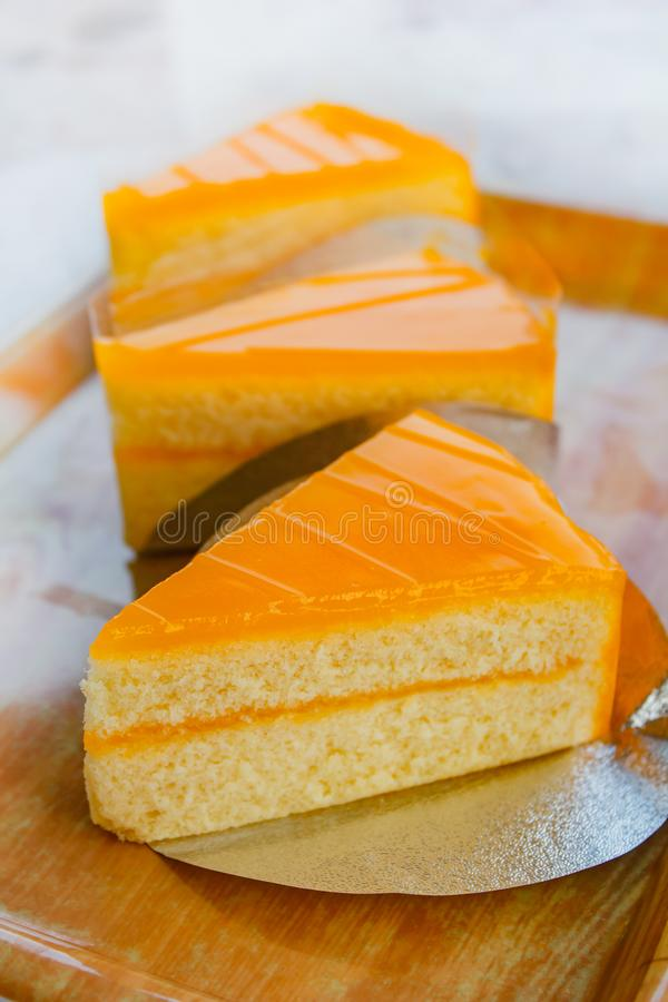 Butter cake with orange topping, homemade cake. Very yummy stock photos