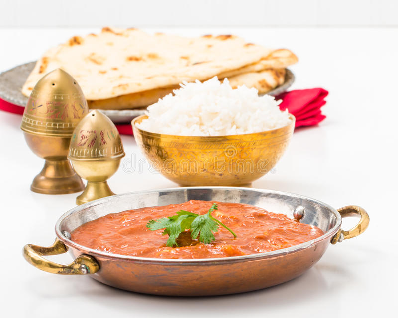 Butter Chicken Rice and Bread royalty free stock image
