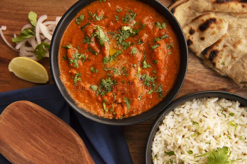 Butter Chicken with rice and roti, food, Pune District, India stock image