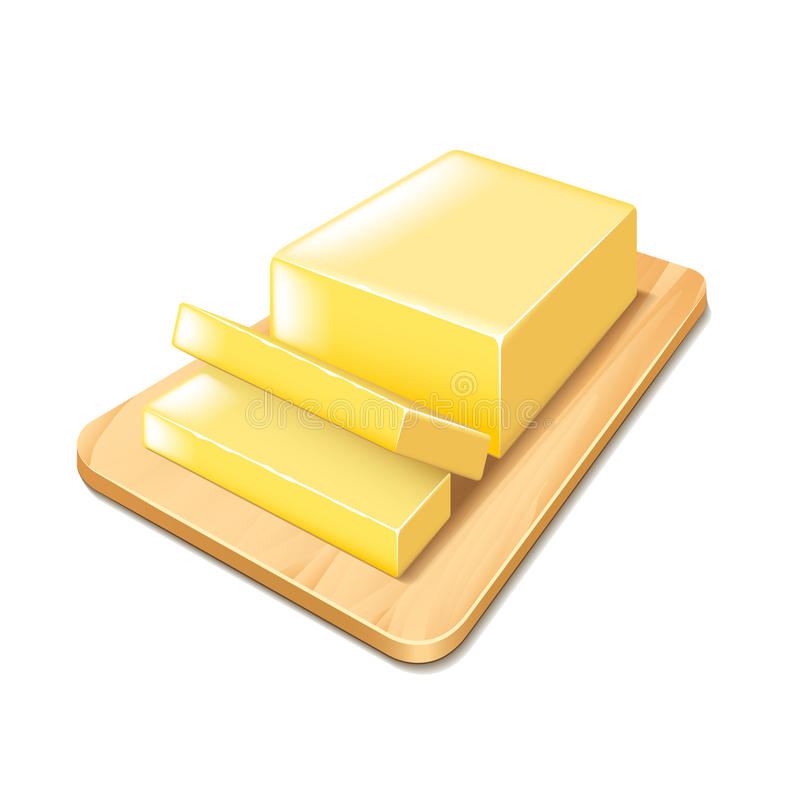 Butter on cutting board vector royalty free illustration
