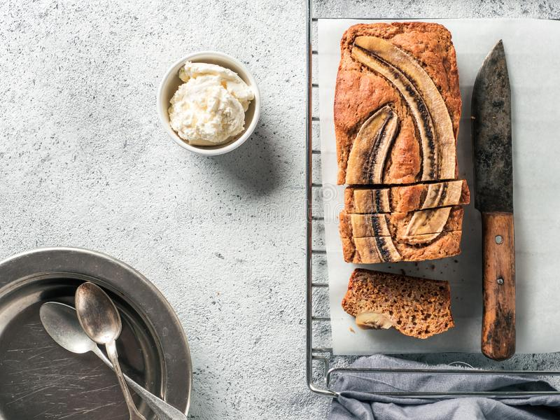 Low-fat banana bread, copy space, top view stock photography