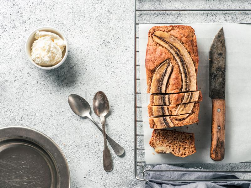 Low-fat banana bread, copy space, top view stock image