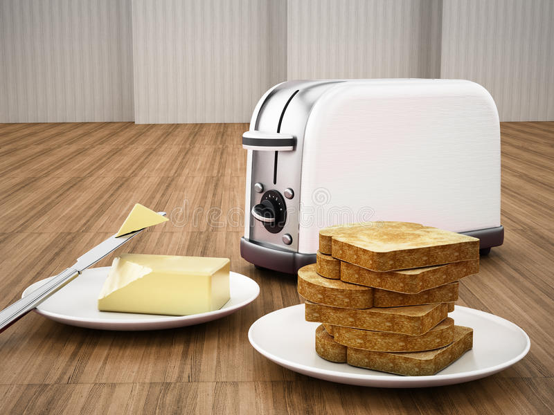 Butter and knife beside toaster and grilled bread. 3D illustration.  vector illustration
