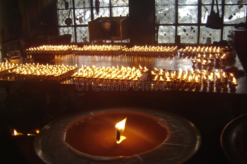 Butter lamps royalty free stock photos