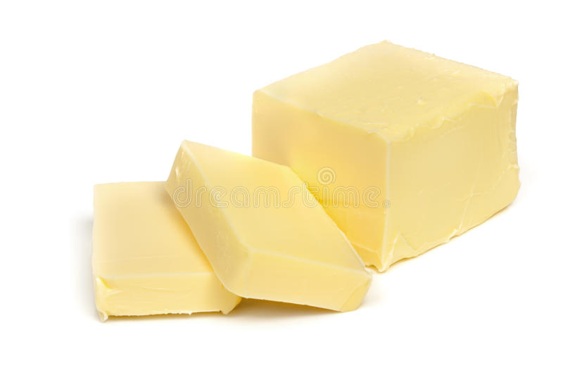 Butter Lokalisiert Auf Weiß Lizenzfreie Stockfotos