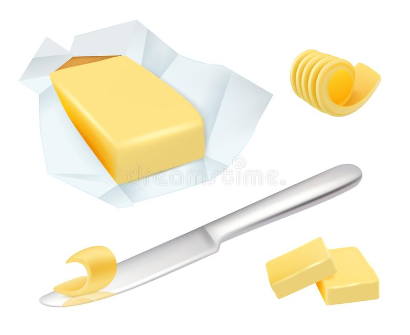 Butter. Margarine breakfast milk butter for cooking food vector realistic pictures collection vector illustration