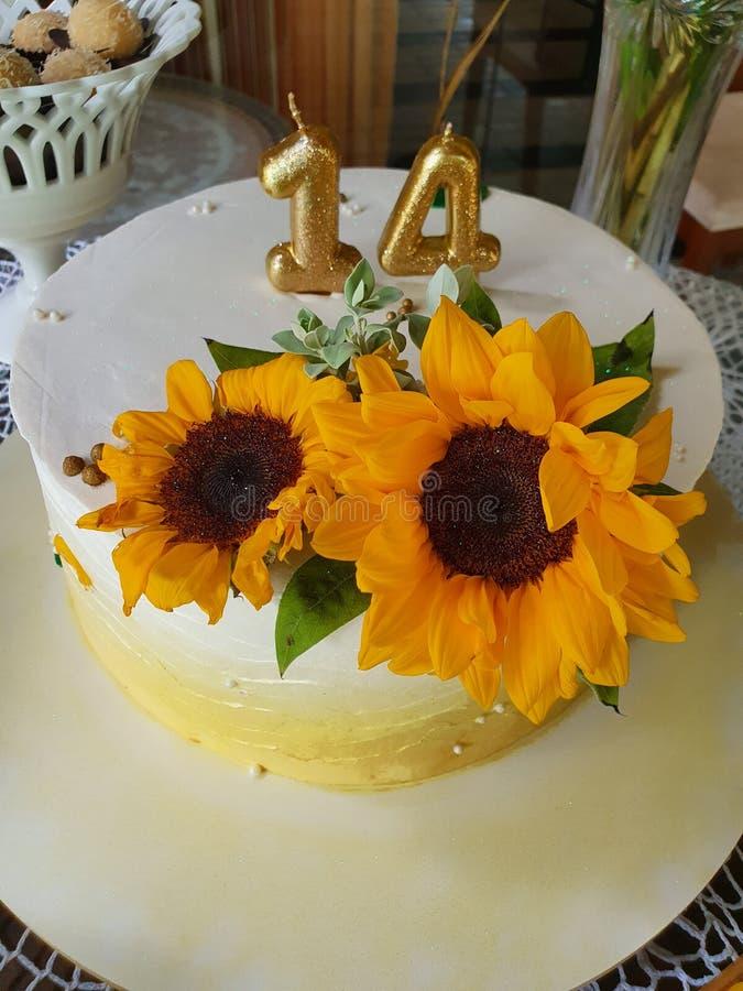 Buttercream cake. Sunflower stock photo