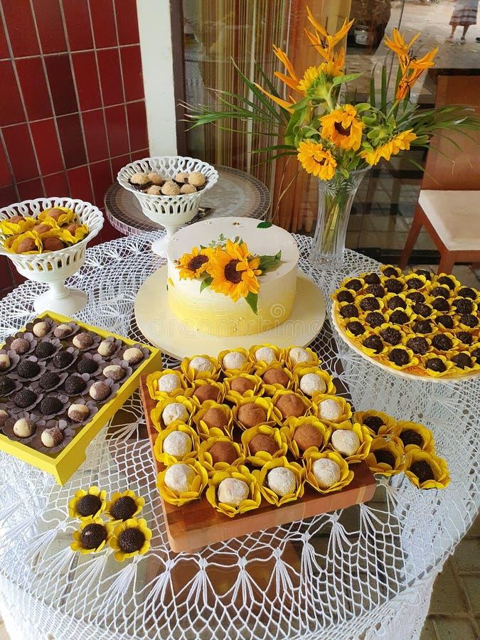 Buttercream cake. Sunflower royalty free stock image