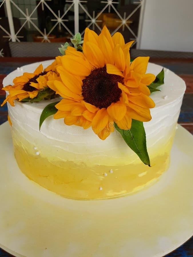 Buttercream cake. Sunflower royalty free stock images