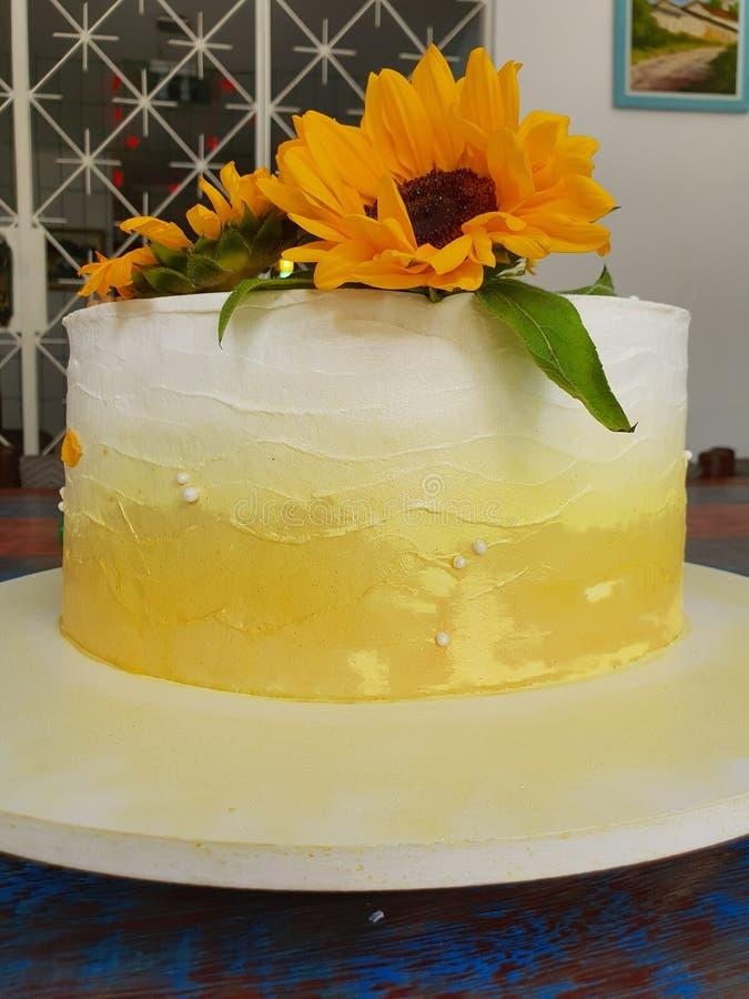 Buttercream cake. Sunflower royalty free stock photos