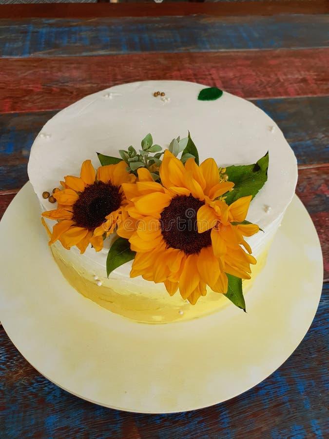 Buttercream cake. Sunflower stock images
