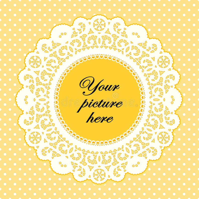 Lace Doily Frame, Buttercup Polka Dot Background. Old fashioned white lace doily frame on a yellow polka dot background for scrapbooks, albums, arts and crafts royalty free illustration