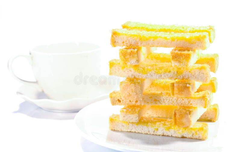 Buttered bread royalty free stock photos