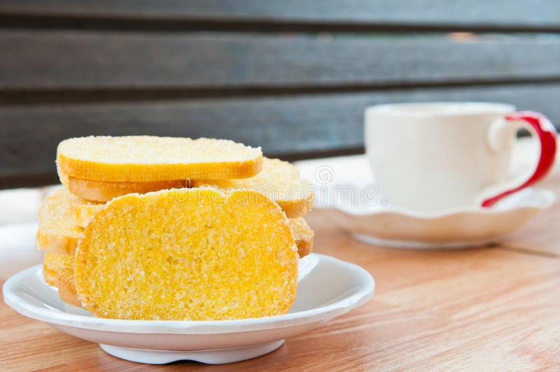 Buttered bread royalty free stock image