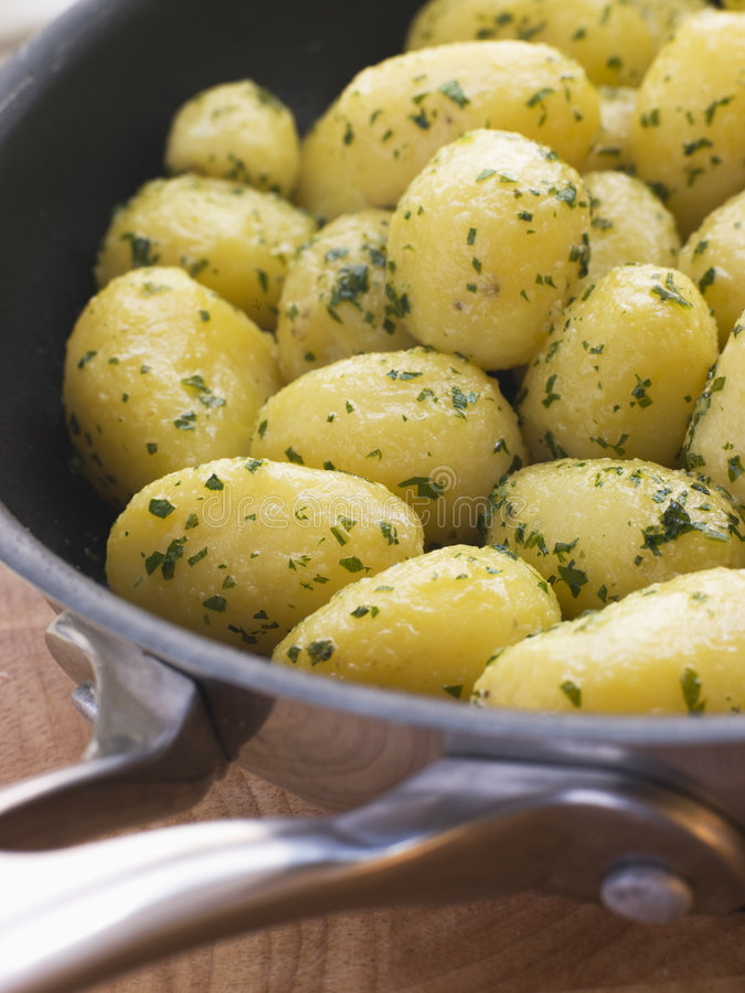 Buttered New Potatoes With Parsley Stock Image