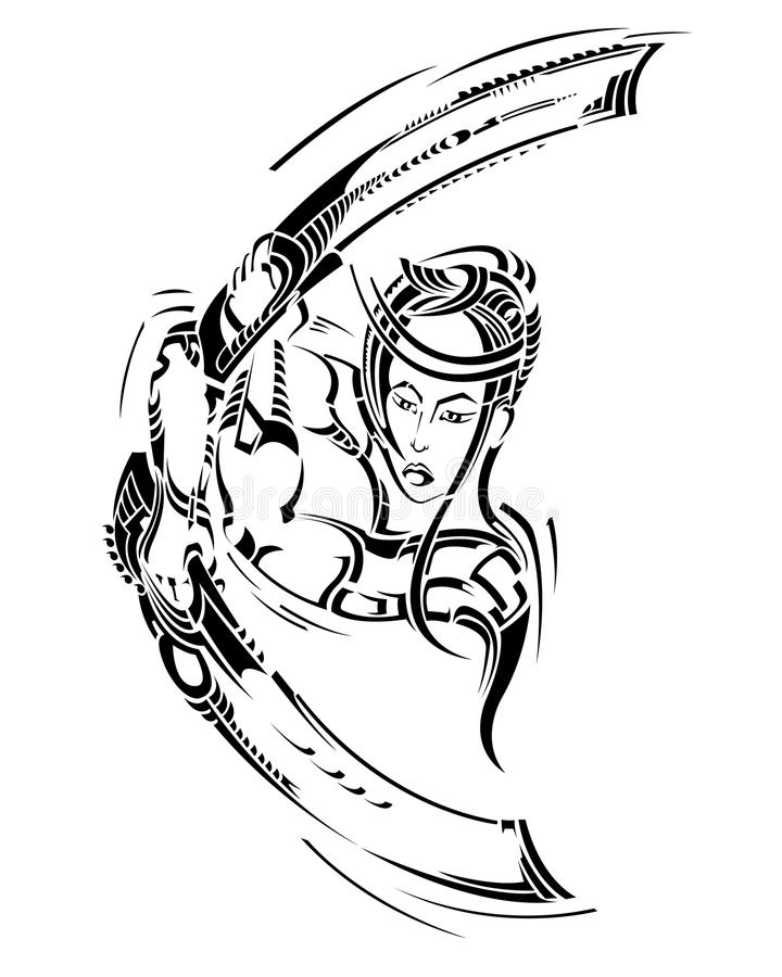 背景蝴蝶装饰例证查出武士剑纹身花刺白色 id.