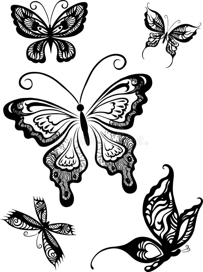 Butterflies. Black and white decorative butterflies royalty free illustration