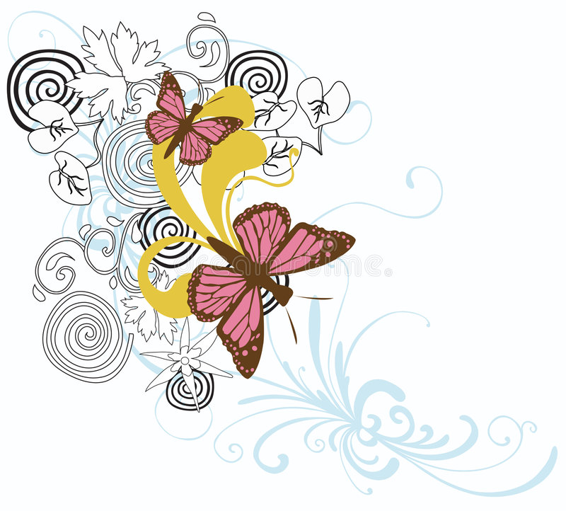 Butterflies. Illustration of butterflies and decorative patterns vector illustration