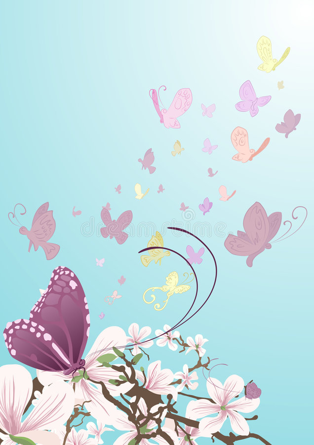 Butterflies and beautiful flowers. Butterflies taking flight from beautiful flowers on a tree. No meshes used stock illustration