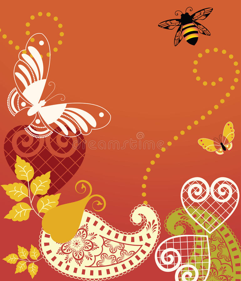 Butterflies and bee royalty free illustration