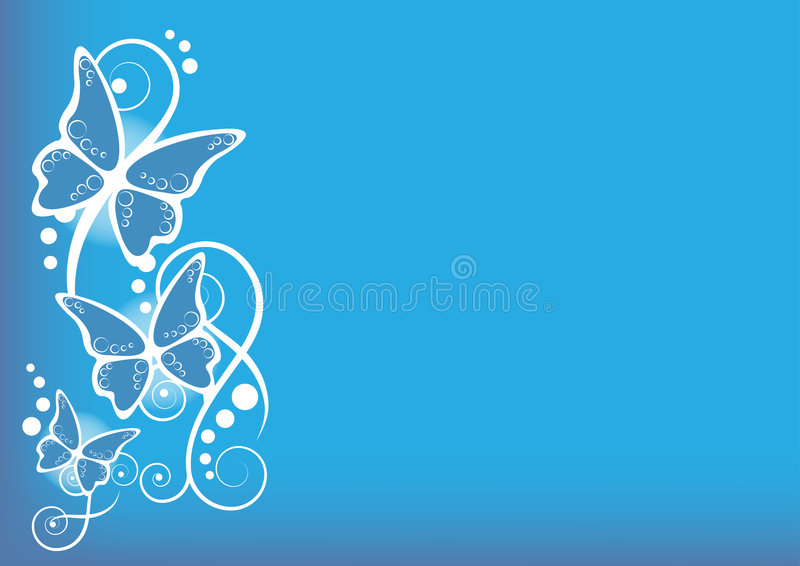 Butterflies blue background stock illustration
