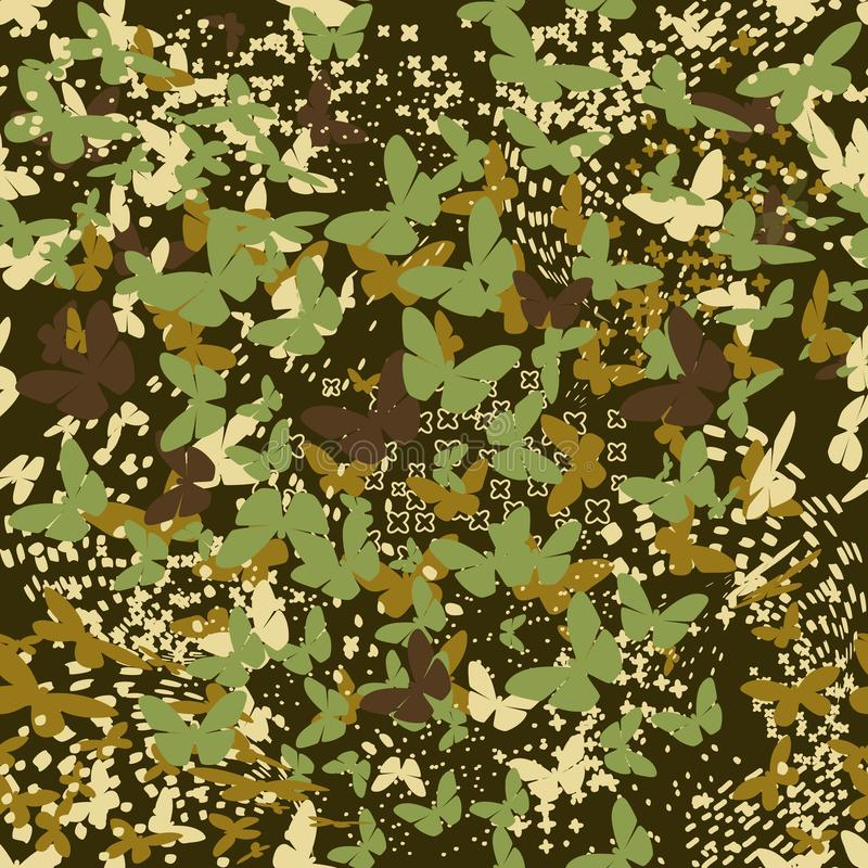 Butterflies camouflage seamless pattern for urban design vector illustration