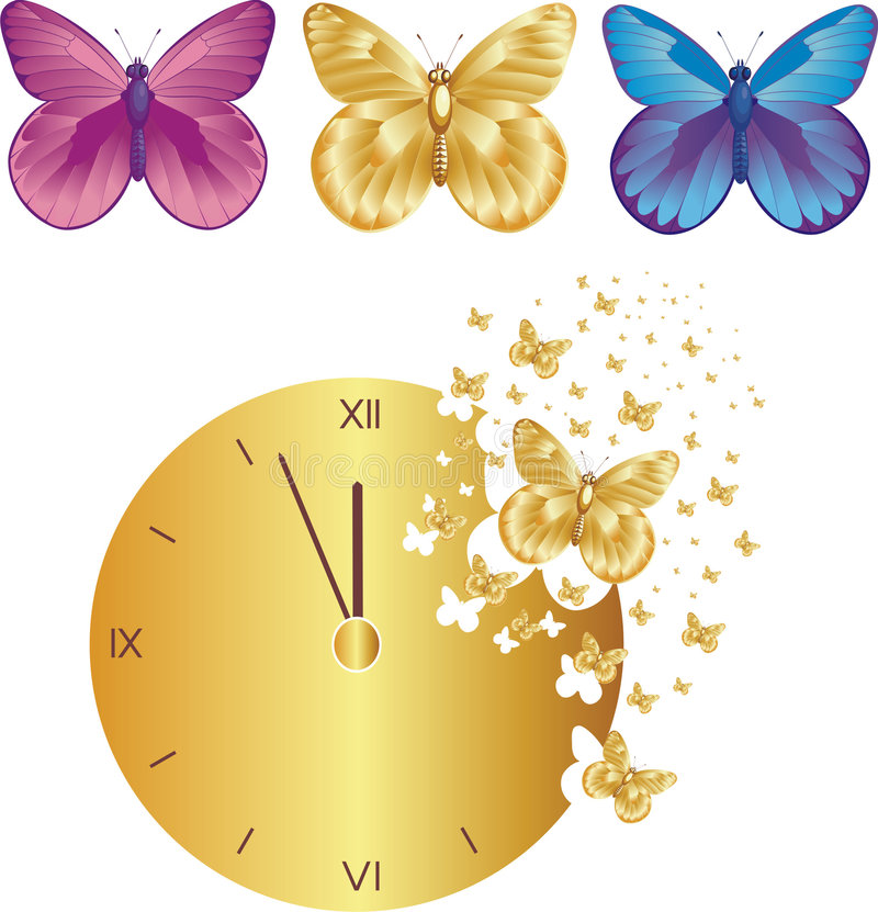 Butterflies carrying away time stock illustration
