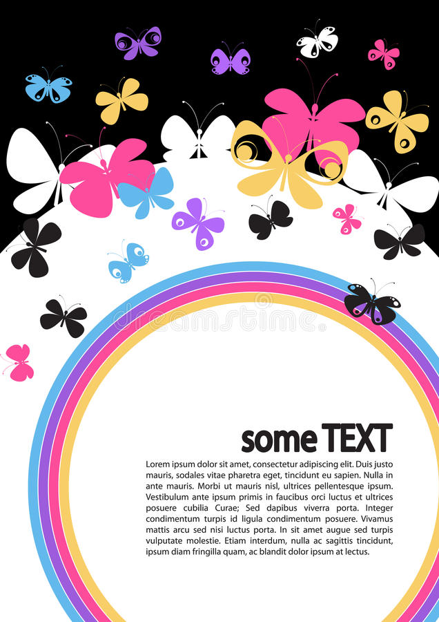 Butterflies and circle. Concept of text layout with butterflies and circle royalty free illustration
