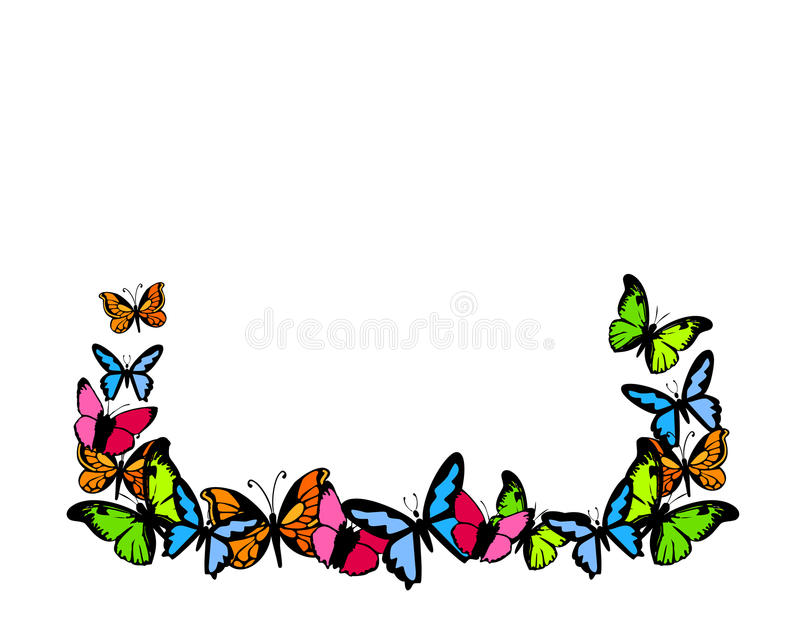 Butterflies colored frame background vector illustration