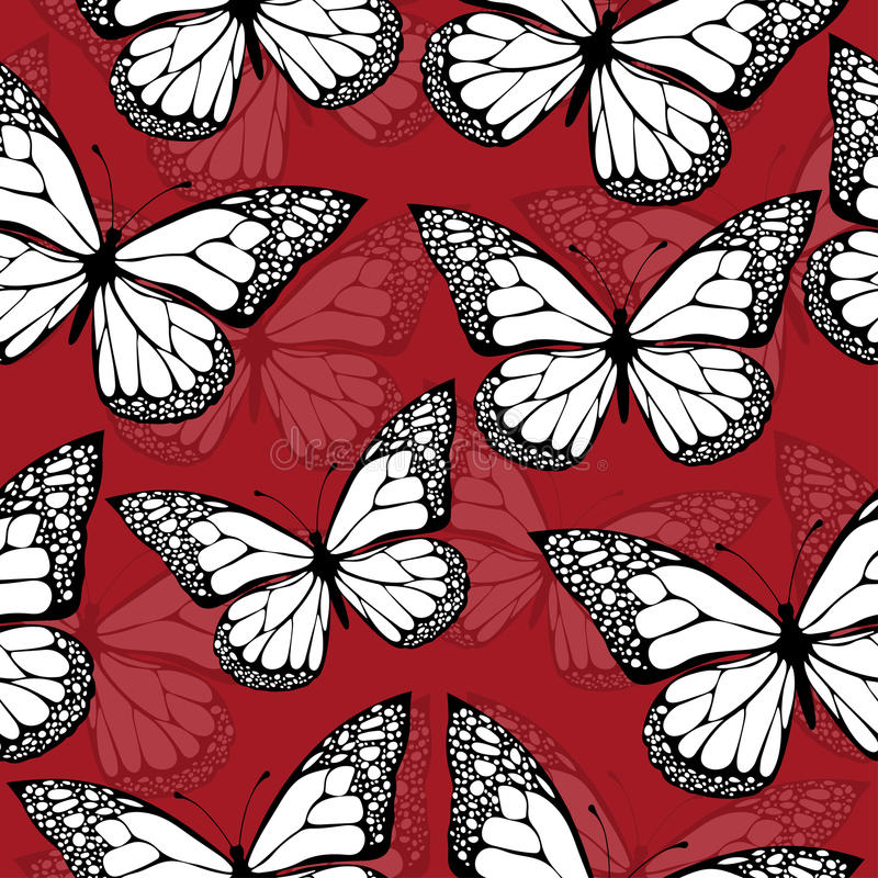 Butterflies colored with ornament seamless pattern, in style boho, hippie, bohemian. Bright, contrasting, openwork black and white vector illustration
