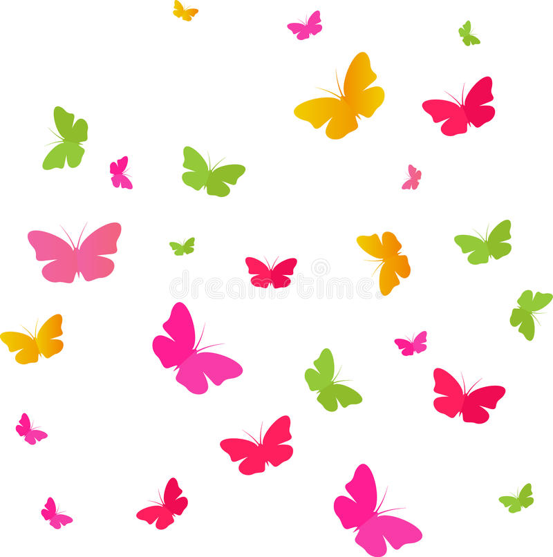 Butterflies Colors. Group colored butterflies on a white background vector illustration