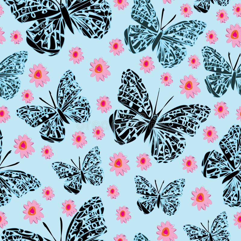 Butterflies and Dasies-Butterfly Garden,seamless repeat pattern vector illustration