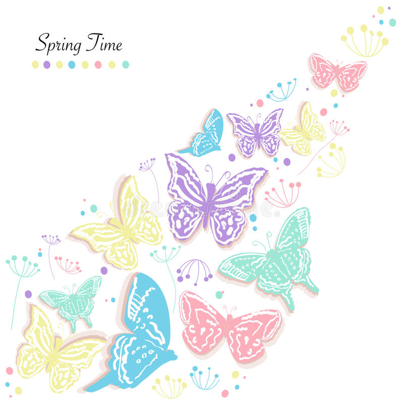 Butterflies design and abstract flowers spring time greeting card vector background. Butterflies design and abstract flowers spring time greeting card vector royalty free illustration