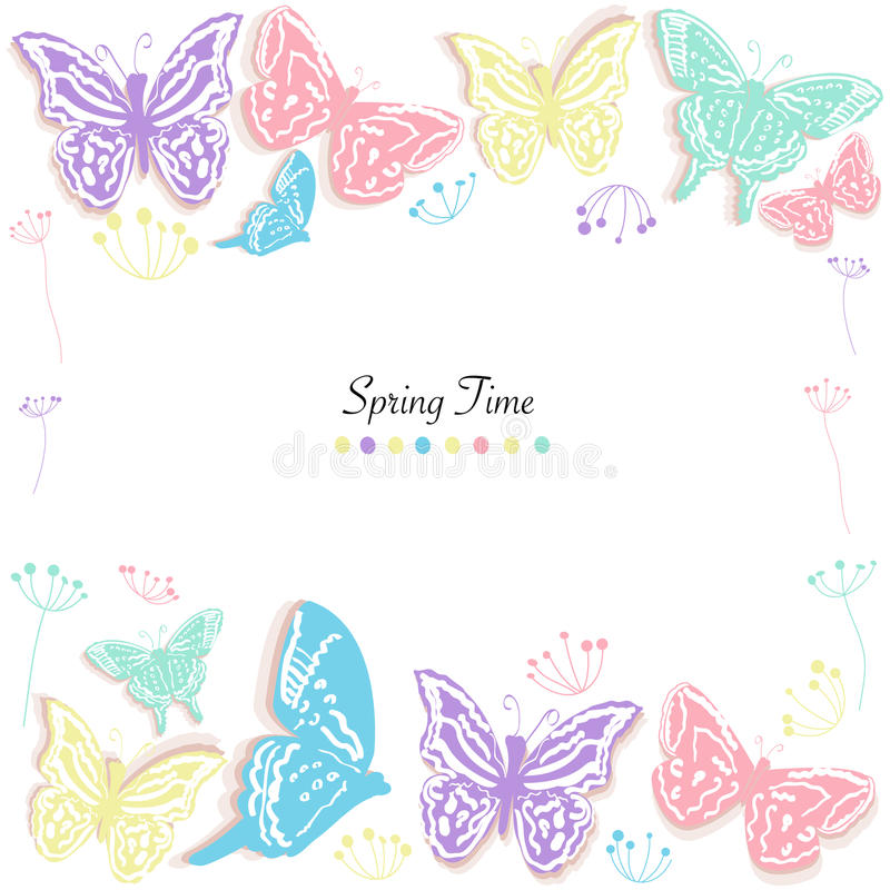Butterflies design and abstract flowers spring time greeting card vector background. Butterflies design and abstract flowers spring time greeting card vector vector illustration